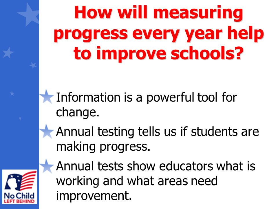 Information is a powerful tool for change. Annual testing tells us if students are making progress. Annual tests show educators what is working and wh