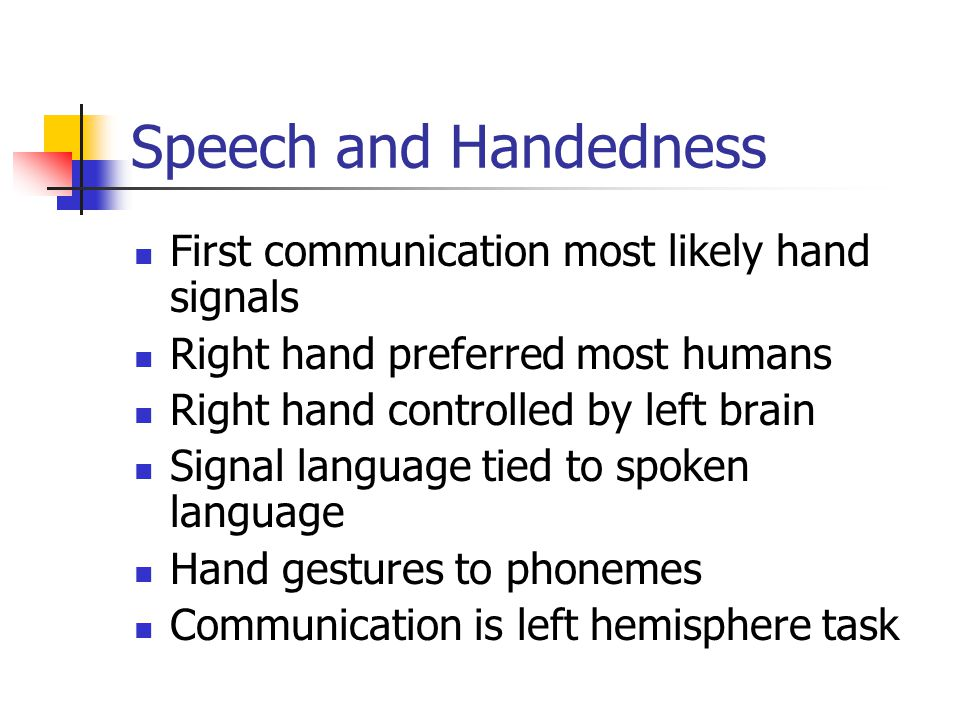 Speech and Handedness First communication most likely hand signals Right hand preferred most humans Right hand controlled by left brain Signal languag