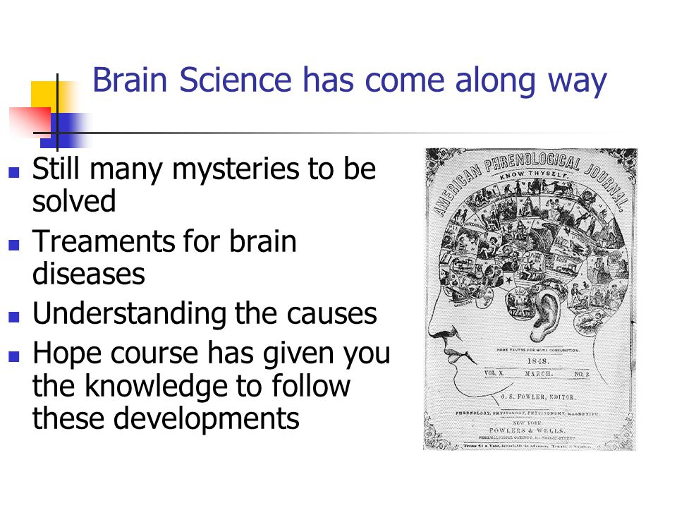 Brain Science has come along way Still many mysteries to be solved Treaments for brain diseases Understanding the causes Hope course has given you the