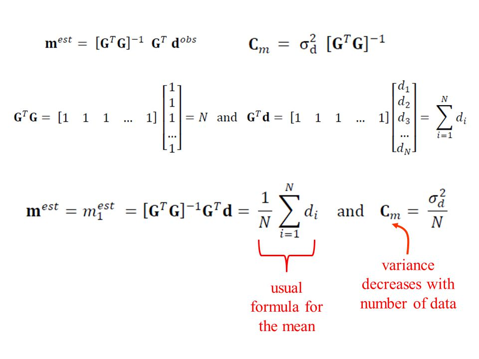 usual formula for the mean variance decreases with number of data