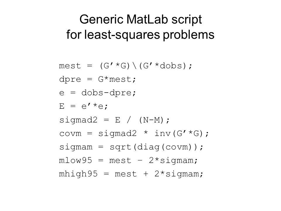 Generic MatLab script for least-squares problems mest = (G'*G)\(G'*dobs); dpre = G*mest; e = dobs-dpre; E = e'*e; sigmad2 = E / (N-M); covm = sigmad2