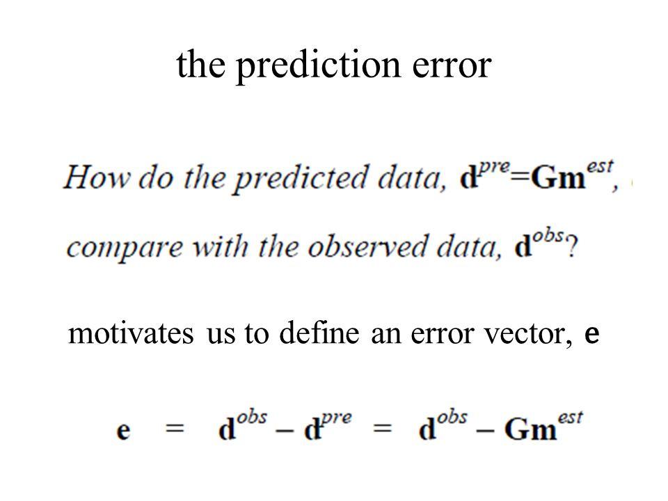 the prediction error motivates us to define an error vector, e