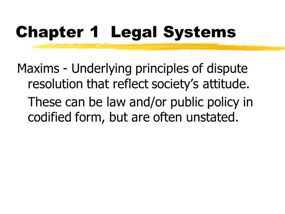 Chapter 1 Legal Systems Maxims - Underlying principles of dispute resolution that reflect society's attitude. These can be law and/or public policy in