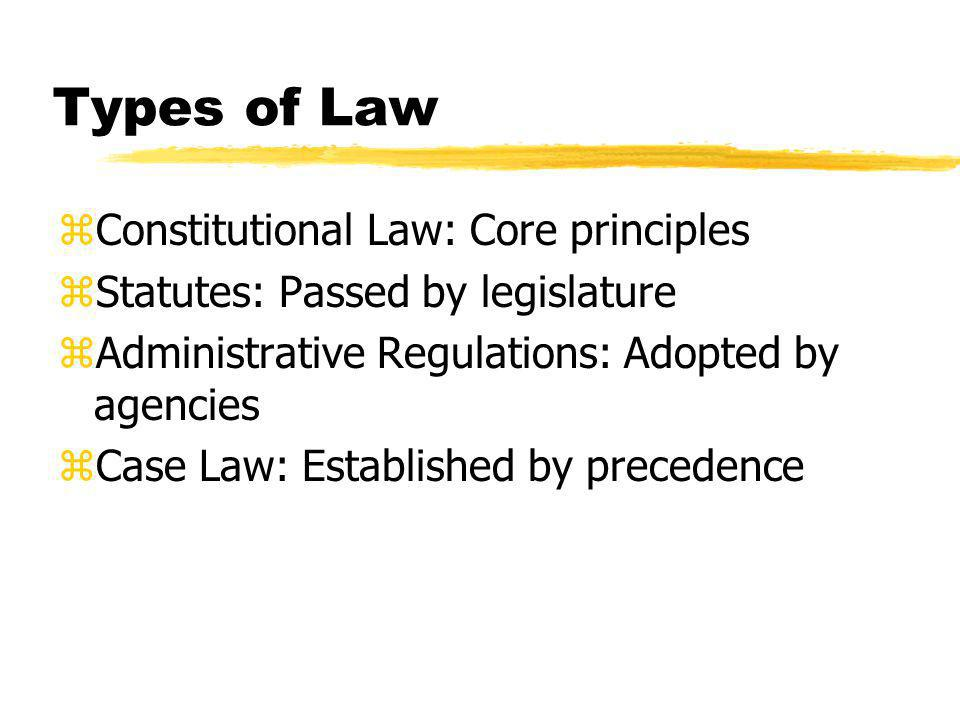 Types of Law zConstitutional Law: Core principles zStatutes: Passed by legislature zAdministrative Regulations: Adopted by agencies zCase Law: Established by precedence