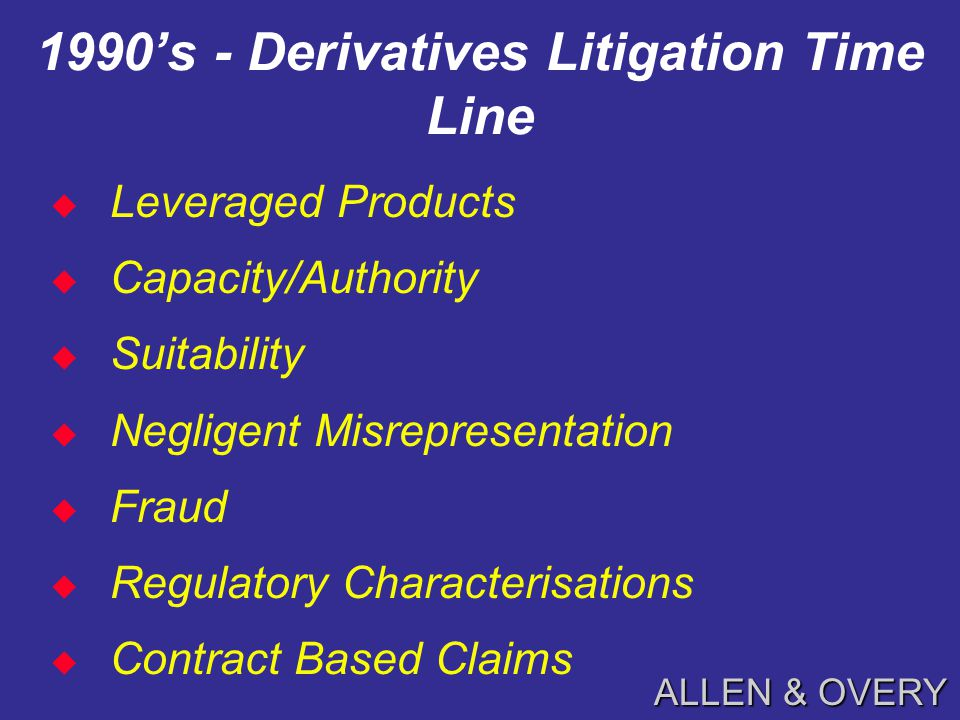 ALLEN & OVERY 1980's - Derivatives Litigation Time Line  Interest /Currency Rate Transactions  Statute of Frauds  Tax Withholding  Regulatory Characterisation