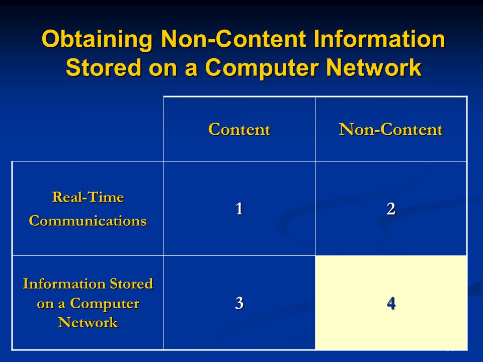 44 Obtaining Non-Content Information Stored on a Computer Network ContentNon-Content Real-TimeCommunications12 Information Stored on a Computer Network 34