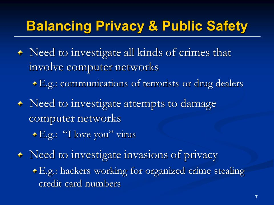 8 Overview I.Balancing Privacy and Public Safety II.Limits on Law Enforcement Investigative Authority III.Intercepting Electronic Communications IV.Collecting Traffic Data Real Time V.Obtaining Content Stored on a Computer Network VI.Obtaining Non-Content Information Stored on a Computer Network VII.Compelling the Target to Disclose Electronic Evidence