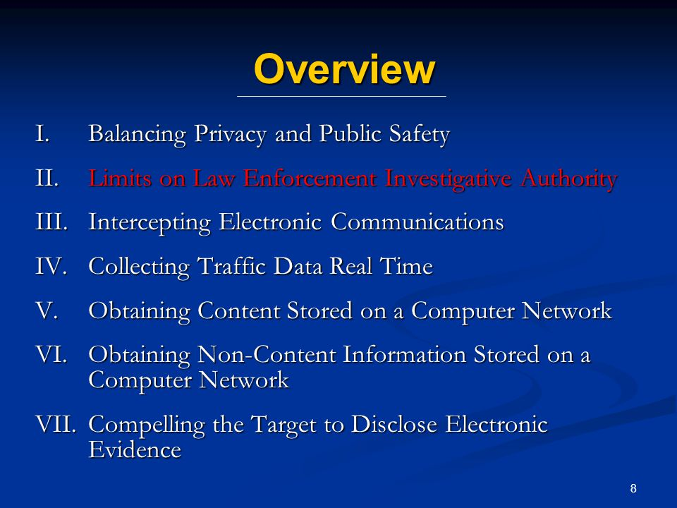 19 Intercepting Electronic Communications on Computer Networks Many countries use the same (or very similar) rules as phone wiretaps Authority should include the ability to compel providers to assist law enforcement officials Sometimes does not require law enforcement expertise May depend on particular technology and infrastructure Art.