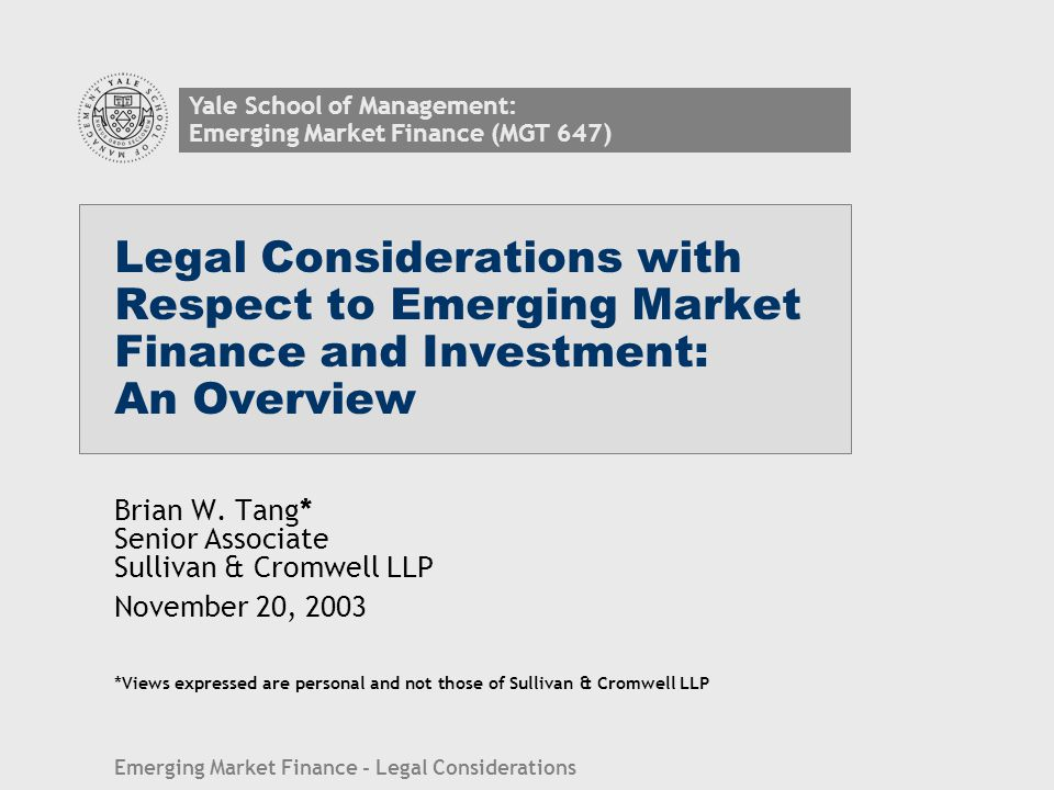 Emerging Market Finance - Legal Considerations 21 (c) Some tools for risk allocation in project financings Completion undertakings/ construction bonds Take-or-pay or other offtake arrangements Price support Political risk insurance e.g., Multilateral Investment Guarantee Agency (MIGA) Convention: PRI covering debt and equity against convertibility/transfer risk expropriation political violence arbitrary non-enforcement of breach of contract Casualty insurance Legal opinions Engineering reports Off-shore accounts Reserve accounts in USD