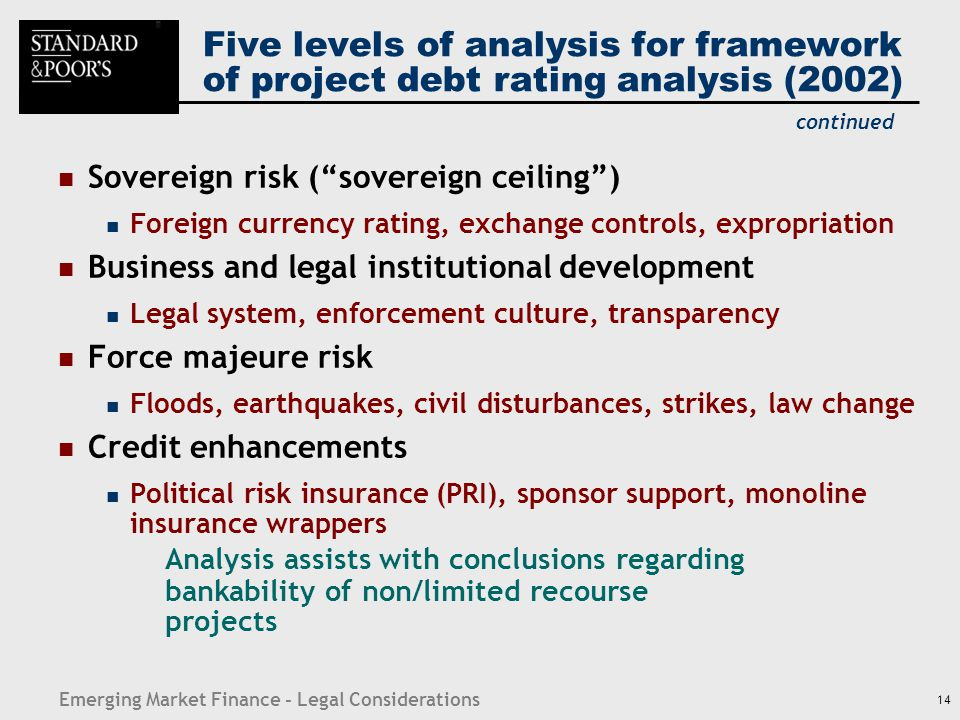 "Emerging Market Finance - Legal Considerations 14 Five levels of analysis for framework of project debt rating analysis (2002) Sovereign risk (""sovere"