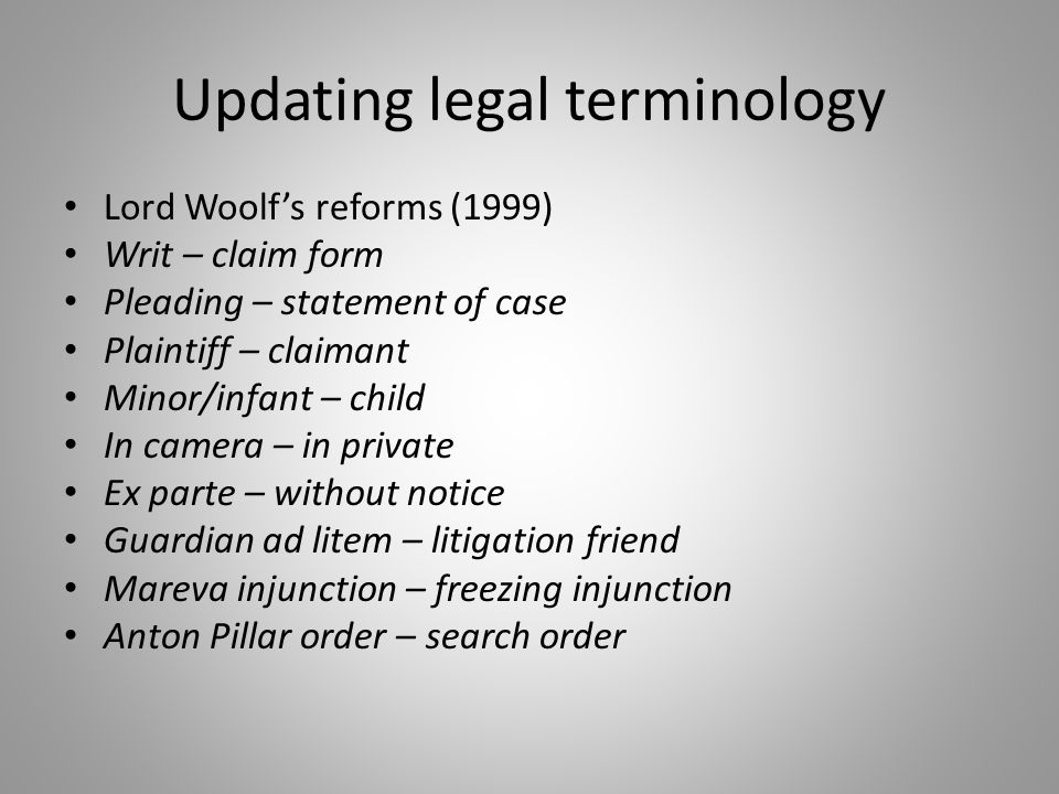 Updating legal terminology Lord Woolf's reforms (1999) Writ – claim form Pleading – statement of case Plaintiff – claimant Minor/infant – child In cam