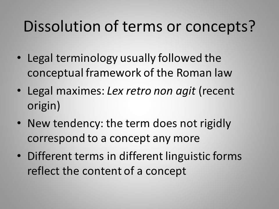Dissolution of terms or concepts.