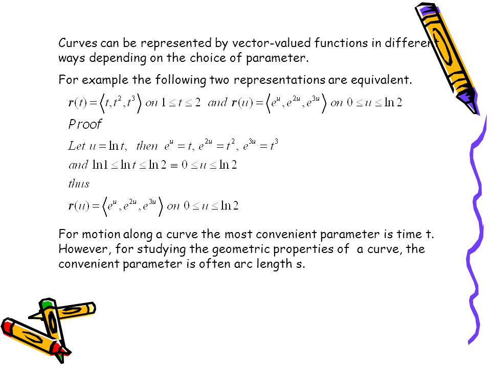 Curves can be represented by vector-valued functions in different ways depending on the choice of parameter. For example the following two representat