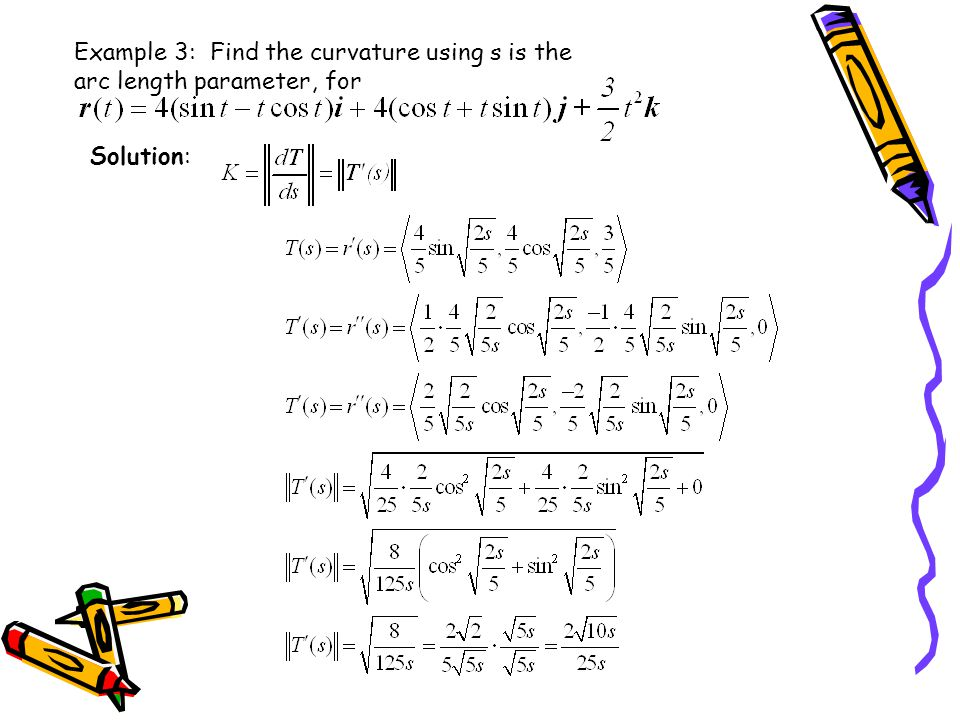 Example 3: Find the curvature using s is the arc length parameter, for Solution: