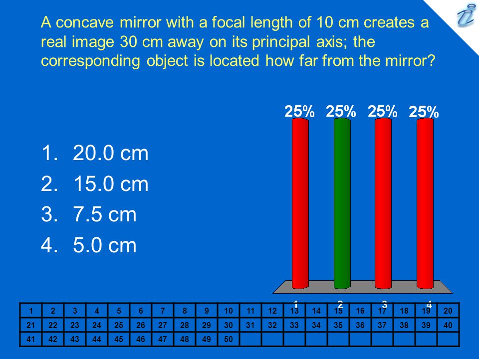 A concave mirror with a focal length of 10 cm creates a real image 30 cm away on its principal axis; the corresponding object is located how far from the mirror.