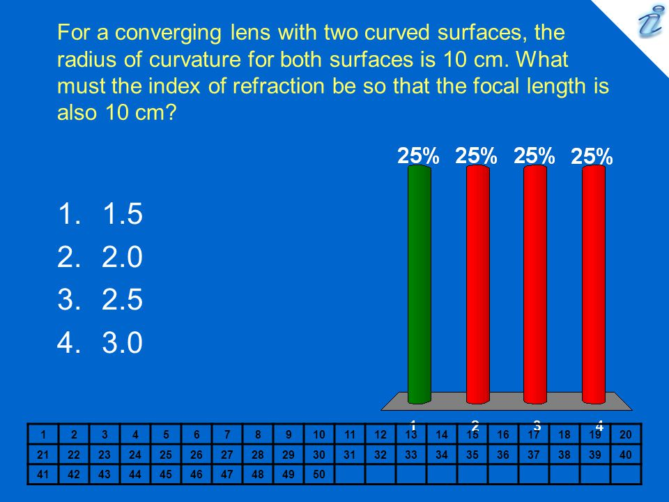 For a converging lens with two curved surfaces, the radius of curvature for both surfaces is 10 cm.