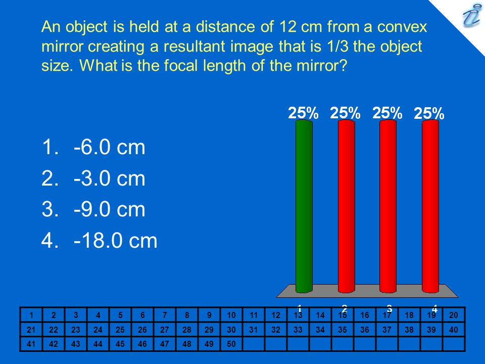 An object is held at a distance of 12 cm from a convex mirror creating a resultant image that is 1/3 the object size.