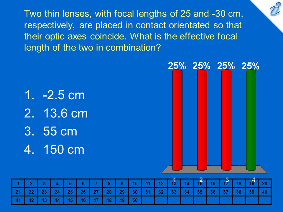 Two thin lenses, with focal lengths of 25 and -30 cm, respectively, are placed in contact orientated so that their optic axes coincide.