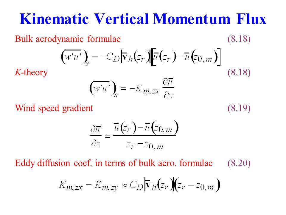 K-theory (8.18) Eddy diffusion coef.in terms of bulk aero.