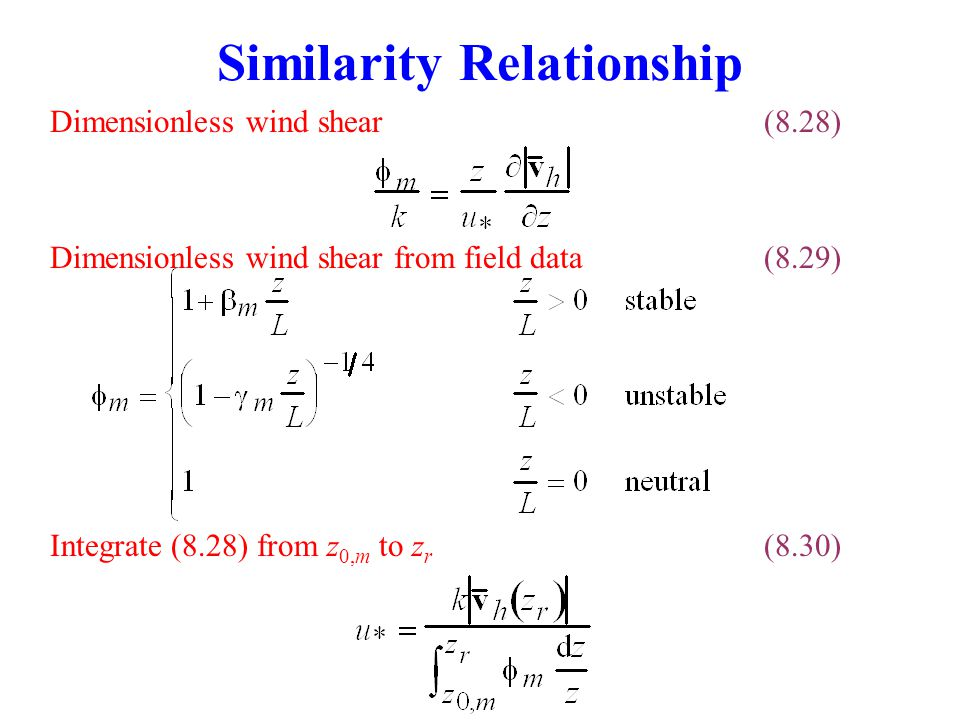 Similarity Relationship Dimensionless wind shear(8.28) Integrate (8.28) from z 0,m to z r (8.30) Dimensionless wind shear from field data(8.29)