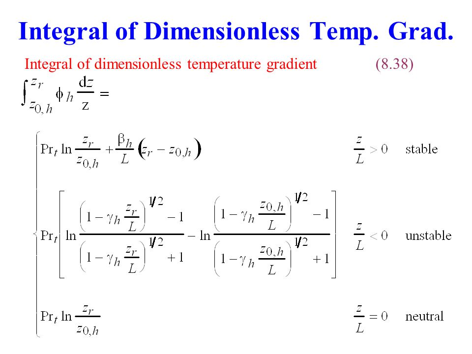 Integral of Dimensionless Temp. Grad. Integral of dimensionless temperature gradient(8.38)