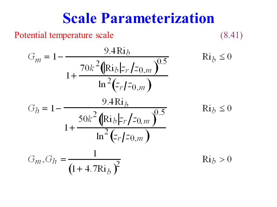 Scale Parameterization Potential temperature scale(8.41)