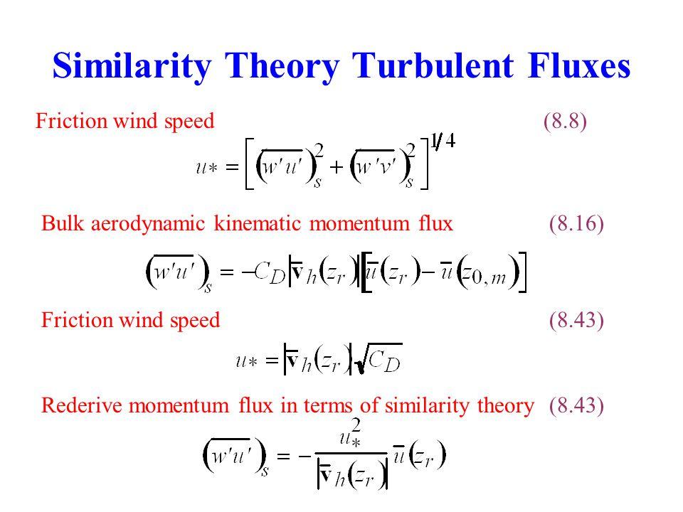 Similarity Theory Turbulent Fluxes Friction wind speed(8.8) Bulk aerodynamic kinematic momentum flux(8.16) Friction wind speed(8.43) Rederive momentum flux in terms of similarity theory(8.43)