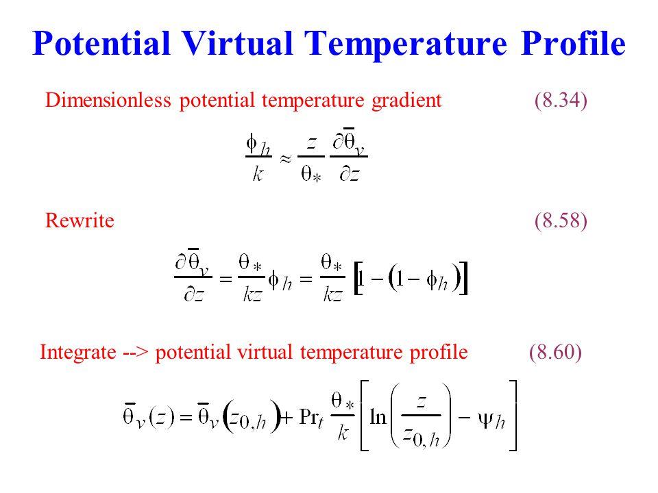 Potential Virtual Temperature Profile Rewrite(8.58) Integrate --> potential virtual temperature profile(8.60) Dimensionless potential temperature gradient(8.34)