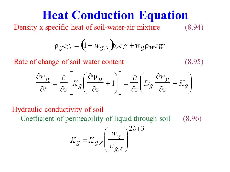 Heat Conduction Equation Rate of change of soil water content(8.95) Density x specific heat of soil-water-air mixture(8.94) Hydraulic conductivity of soil Coefficient of permeability of liquid through soil(8.96)