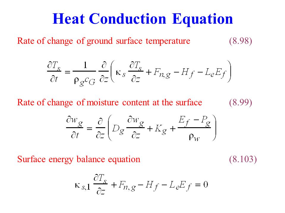 Heat Conduction Equation Surface energy balance equation(8.103) Rate of change of moisture content at the surface(8.99) Rate of change of ground surface temperature(8.98)