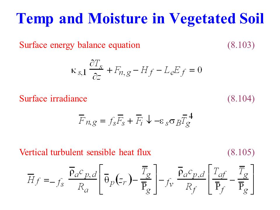 Temp and Moisture in Vegetated Soil Surface irradiance(8.104) Surface energy balance equation(8.103) Vertical turbulent sensible heat flux(8.105)