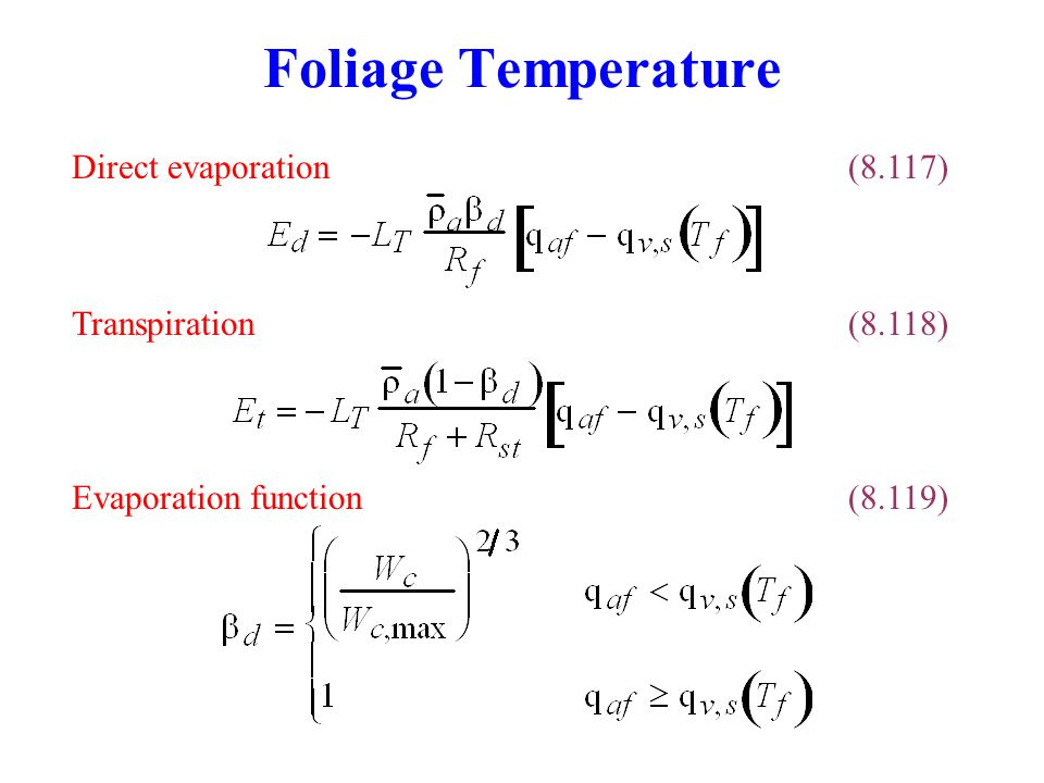 Foliage Temperature Transpiration(8.118) Direct evaporation(8.117) Evaporation function(8.119)