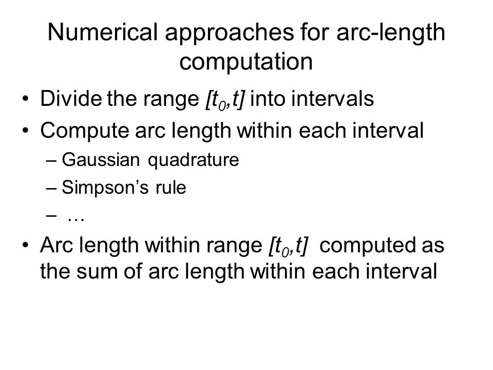 Experimental results (cont.) ( 1) m=5 (2) m=10 Arc-length parameterization error of the derived curve