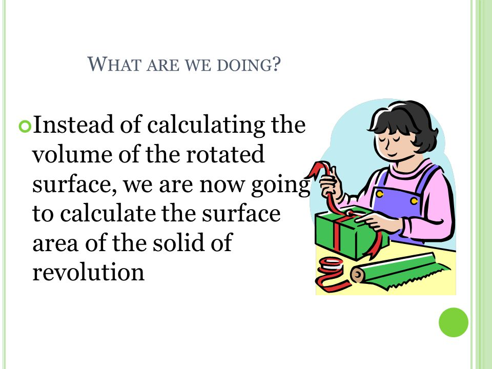 S URFACE A REA OF S OLIDS OF R EVOLUTION When we talk about the surface area of a solid of revolution, these solids only consist of what is being revolved.