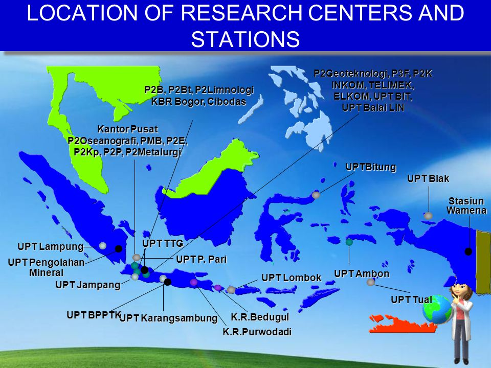 LOCATION OF RESEARCH CENTERS AND STATIONS Kantor Pusat P2Oseanografi, PMB, P2E, P2Kp, P2P, P2Metalurgi P2B, P2Bt, P2Limnologi KBR Bogor, Cibodas P2Geoteknologi, P3F, P2K INKOM, TELIMEK, ELKOM, UPT BIT, UPT Balai LIN UPT Ambon UPTBitung UPT Biak UPT Tual UPT Lombok UPT P.