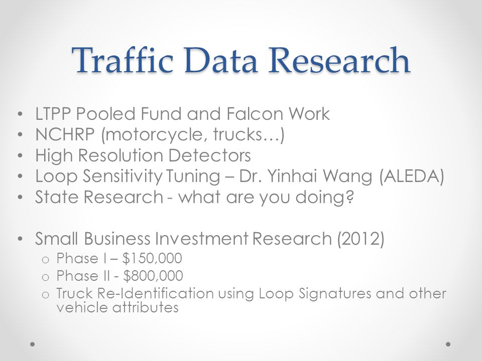 Traffic Data Research LTPP Pooled Fund and Falcon Work NCHRP (motorcycle, trucks…) High Resolution Detectors Loop Sensitivity Tuning – Dr. Yinhai Wang
