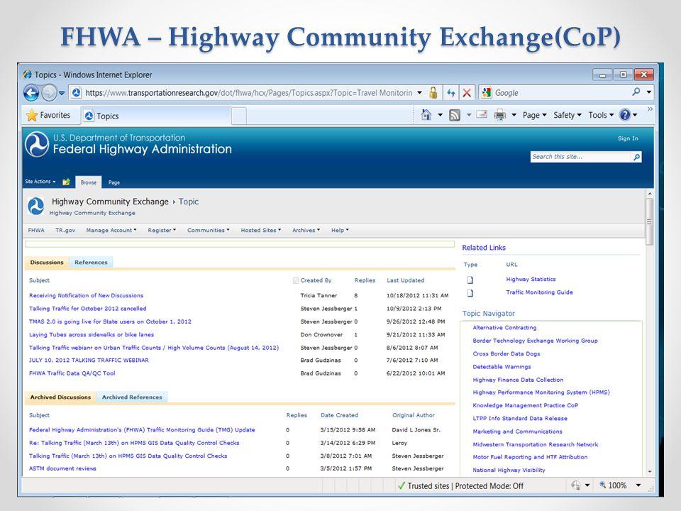 FHWA – Highway Community Exchange(CoP)