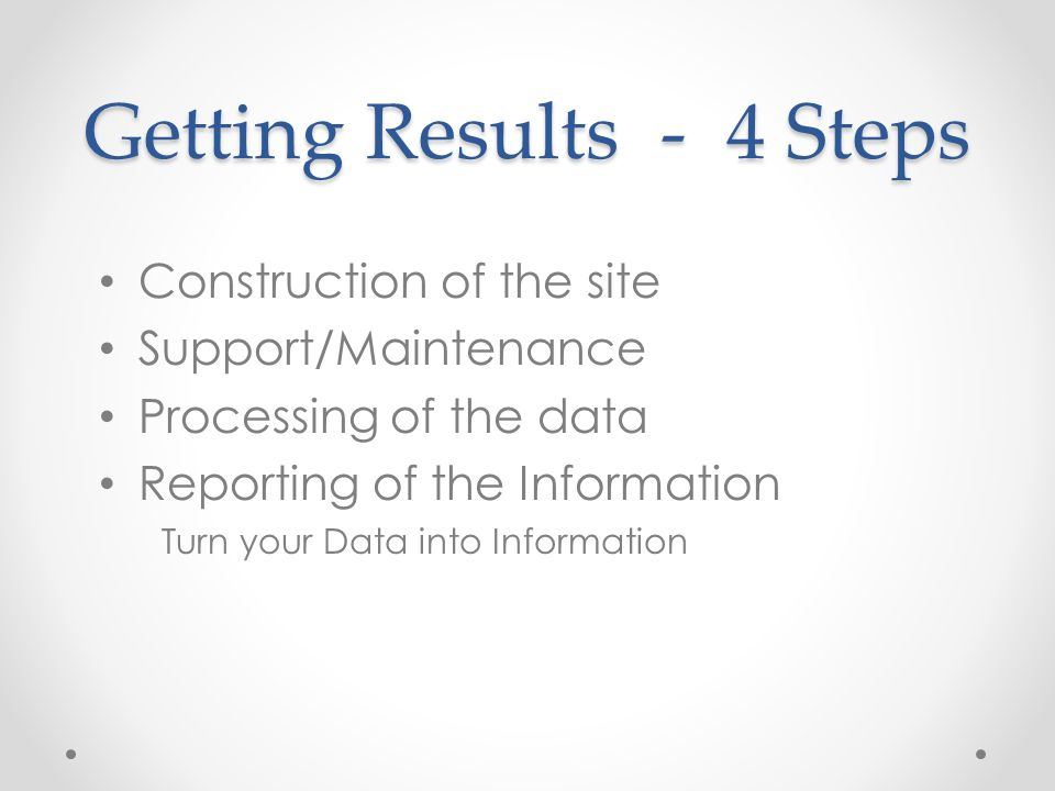 Getting Results - 4 Steps Construction of the site Support/Maintenance Processing of the data Reporting of the Information Turn your Data into Informa