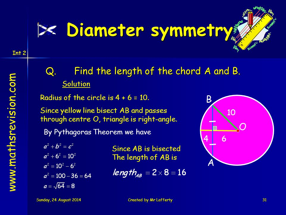 Int 2 Sunday, 24 August 2014Sunday, 24 August 2014Sunday, 24 August 2014Sunday, 24 August 2014Created by Mr Lafferty31 Q.Find the length of the chord