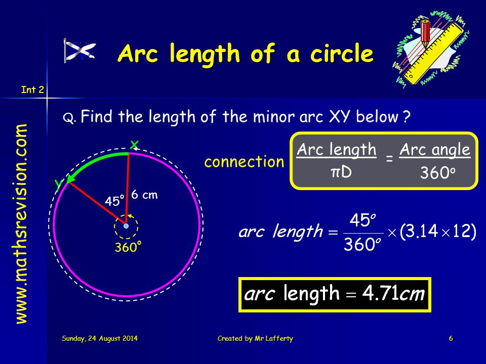 Int 2 Sunday, 24 August 2014Sunday, 24 August 2014Sunday, 24 August 2014Sunday, 24 August 2014Created by Mr Lafferty6 www.mathsrevision.com Arc length