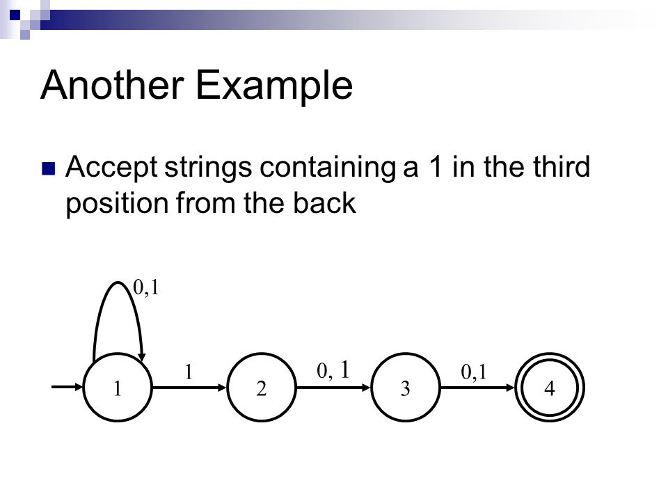 Another Example 1234 0,1 1 Accept strings containing a 1 in the third position from the back