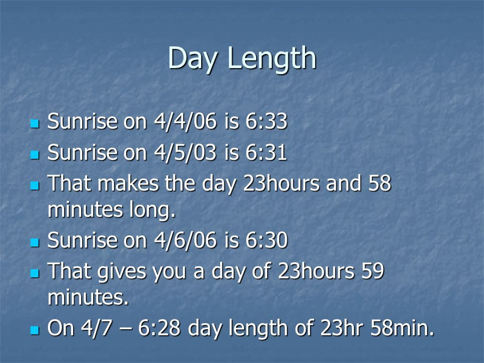 Day Length Sunrise on 4/4/06 is 6:33 Sunrise on 4/4/06 is 6:33 Sunrise on 4/5/03 is 6:31 Sunrise on 4/5/03 is 6:31 That makes the day 23hours and 58 minutes long.