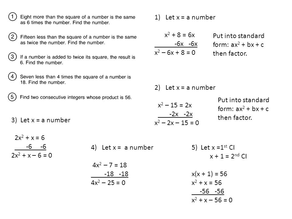 1)Let x = a number x 2 + 8 = 6x -6x -6x x 2 – 6x + 8 = 0 Put into standard form: ax 2 + bx + c then factor. 2)Let x = a number x 2 – 15 = 2x -2x -2x x