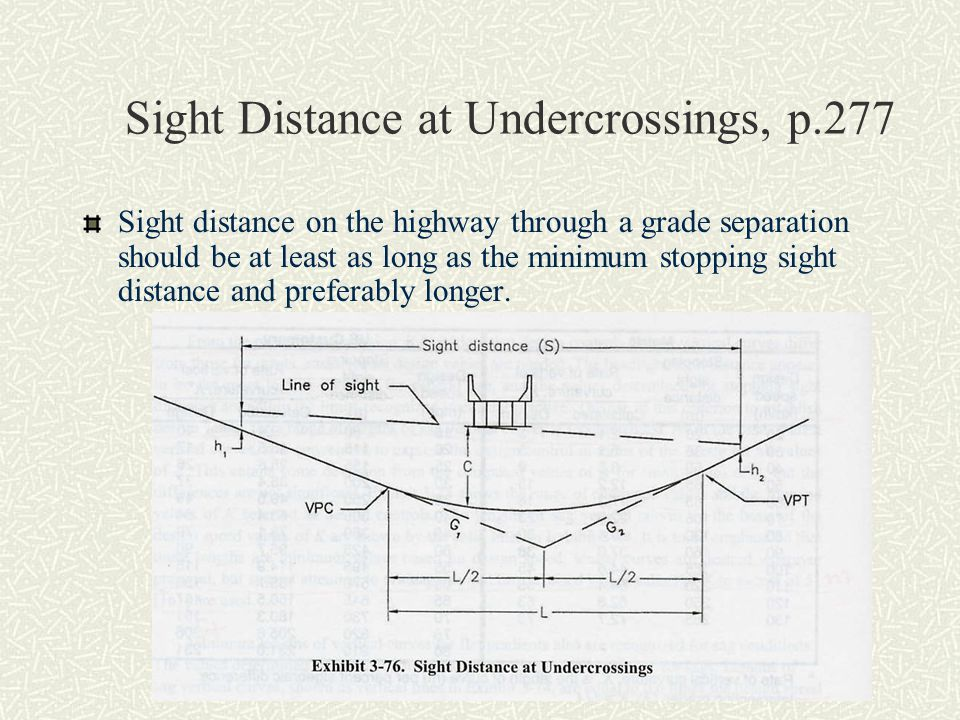 Sight Distance at Undercrossings, p.277 Sight distance on the highway through a grade separation should be at least as long as the minimum stopping si