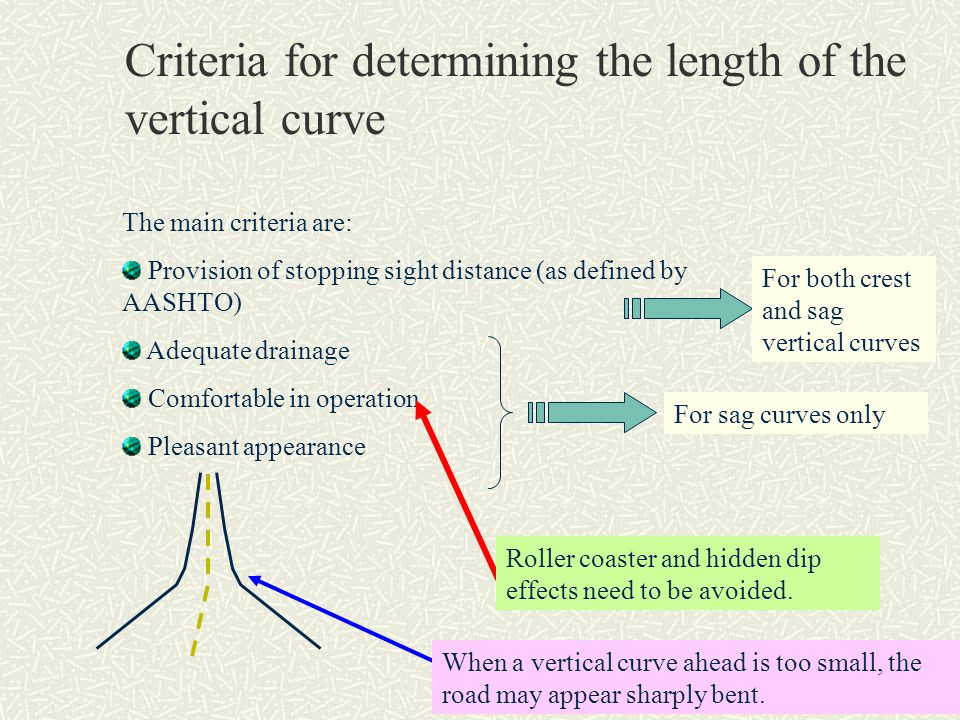 Criteria for determining the length of the vertical curve The main criteria are: Provision of stopping sight distance (as defined by AASHTO) Adequate