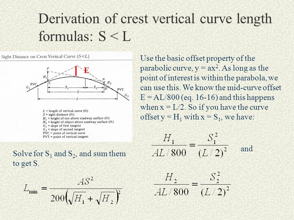 Derivation of crest vertical curve length formulas: S < L Use the basic offset property of the parabolic curve, y = ax 2. As long as the point of inte