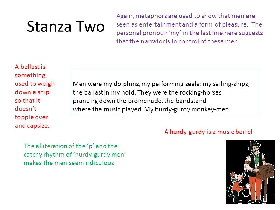 Stanza Two Men were my dolphins, my performing seals; my sailing-ships, the ballast in my hold.