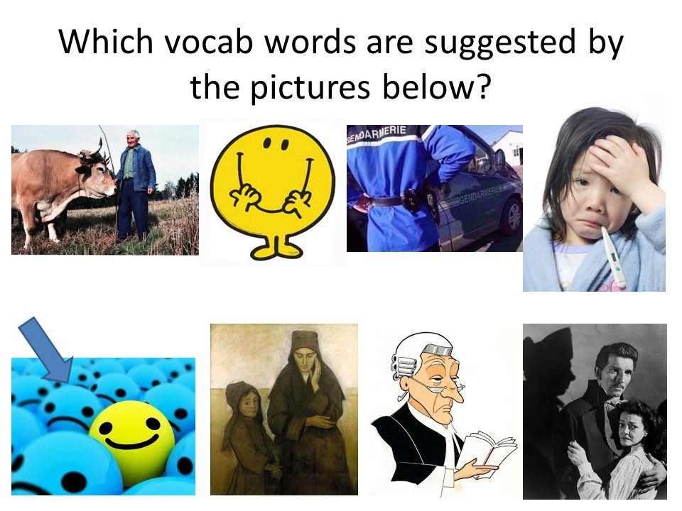 Which vocab words are suggested by the pictures below