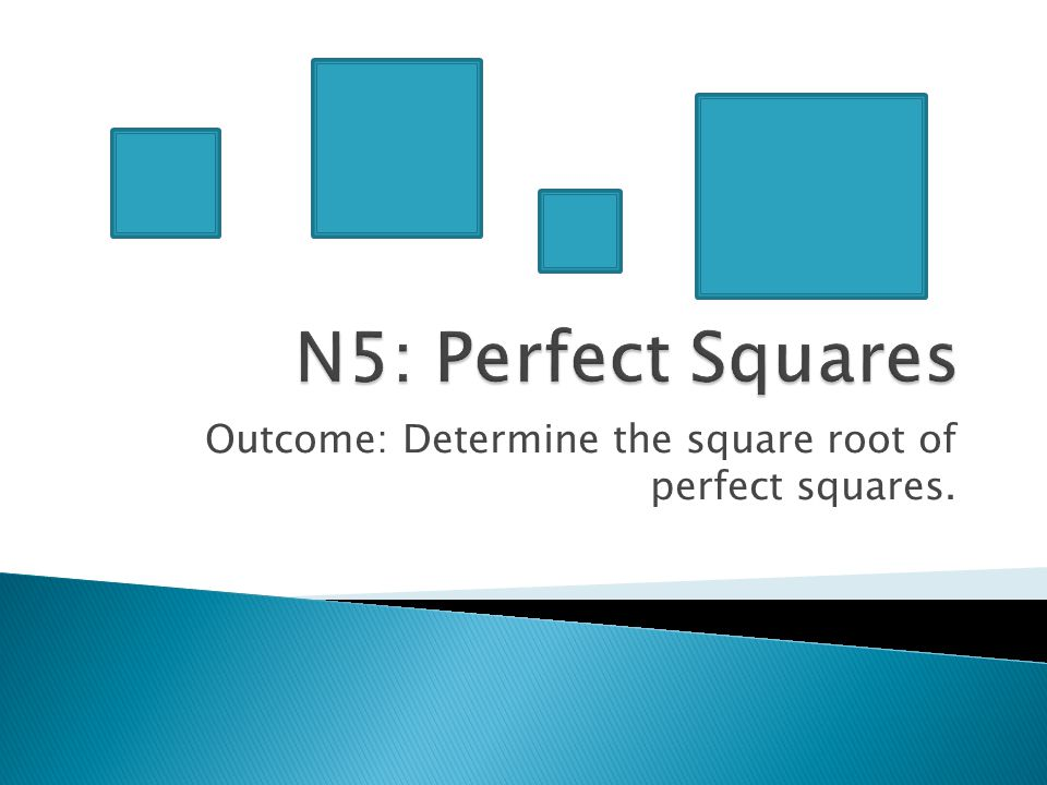 Outcome: Determine the square root of perfect squares.