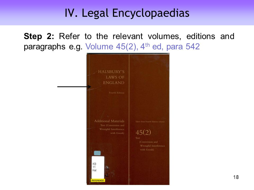 IV. Legal Encyclopaedias Step 2: Refer to the relevant volumes, editions and paragraphs e.g.